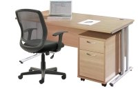 Gentoo Desk, 2 Drawer Mobile Pedestal & Mave Chair