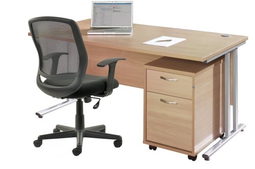 Gentoo Rectangular Desk (w) 1400mm x (d) 800mm with 2 Drawer Mobile Pedestal & Mave Chair