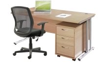 Gentoo Desk, 3 Drawer Mobile Pedestal & Mave Chair