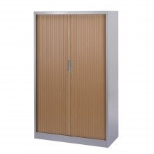 Bisley Essentials Tambour High Cupboard Beech/ Silver