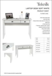 Teknik Laptop Desk Soft White Specification Sheet