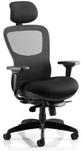 Gentoo Stealth Shadow Ergo Posture Airmesh Seat and Mesh Back Chair with Arms & Headrest