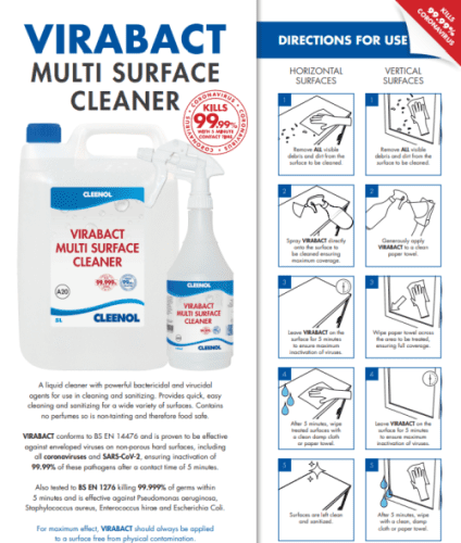 Cleenol Virabact Multi Surface Cleaner - 5Ltr (Pack of 2)